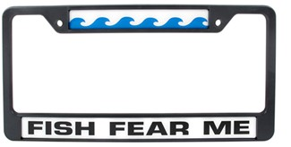 Fish fear me license plate frame knockout license plates for Fishing license near me