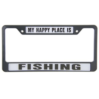 My happy place is fishing license plate frame knockout for Fishing license plate