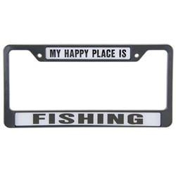 My Happy Place Is Fishing License Plate Frame