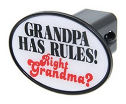 "Grandpa Has Rules! Right Grandma? 2"" Trailer Hitch Receiver Cover"