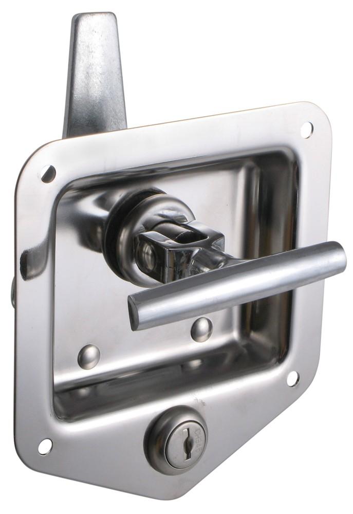 T handle locking stainless steel flush door latch redline for Door latch parts