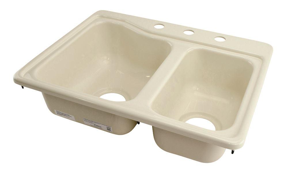 better bath 25 x 19 double sink 3 holes parchment