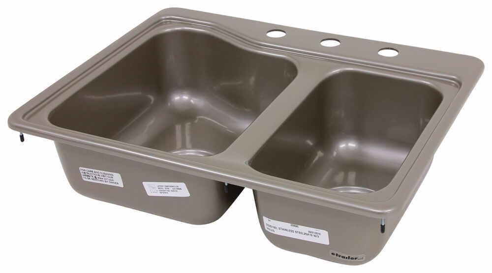 Better bath 25 x 19 double sink 3 holes silver - Rv kitchen sink faucet ...