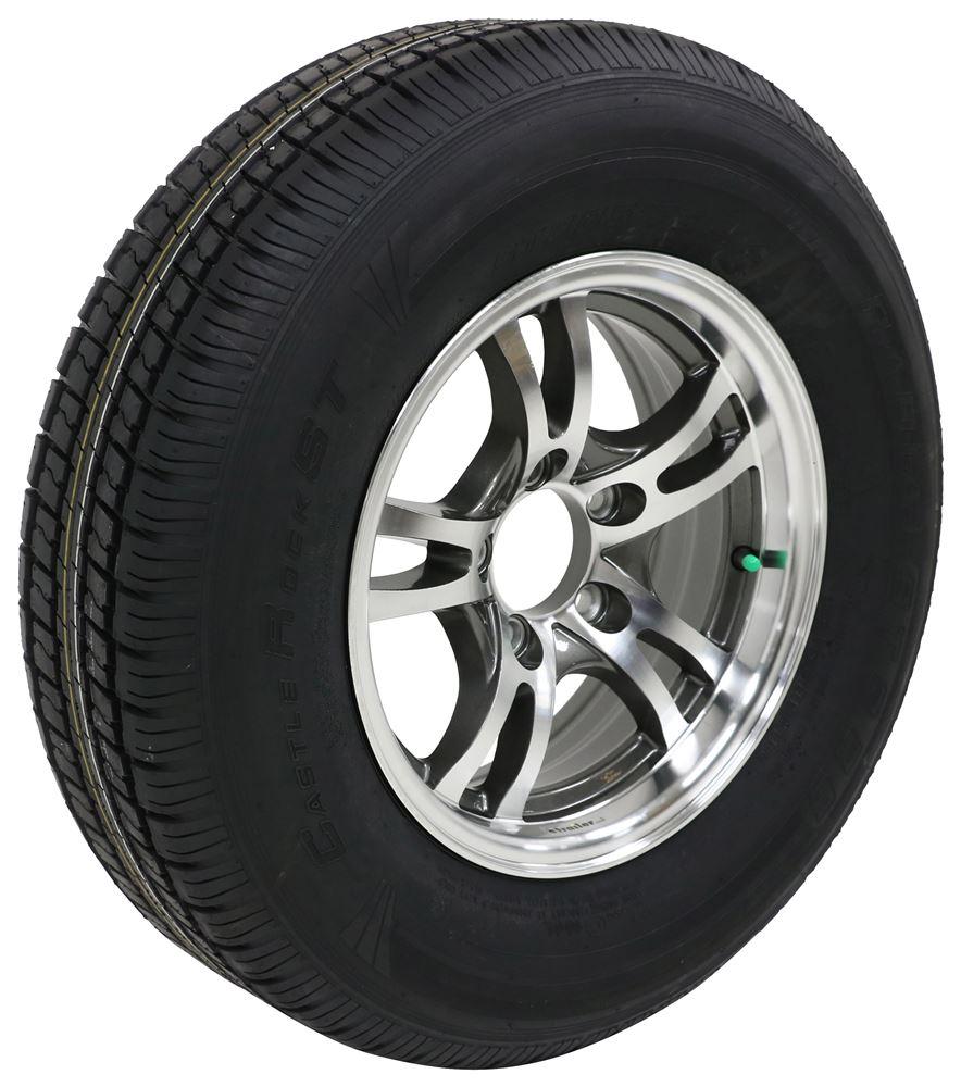 "Castle Rock ST205/75R14 Radial Tire w/ 14"" Jaguar Aluminum Wheel - 5 on 4-1/2 - LR C - Gray ..."