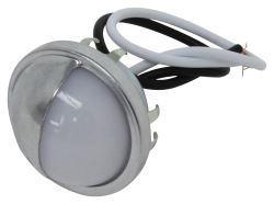 LED Trailer License Plate Light with Chrome Housing - Submersible - 2 Diodes - Round - White Lens