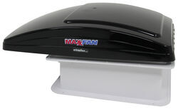 MaxxFan Deluxe Roof Vent w/ 12V Fan, Thermostat, and Remote - Powered Lift - 10 Speed - Smoke