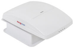 MaxxFan Deluxe Roof Vent w/ 12V Fan and Thermostat - Manual Lift - 10 Speed - White