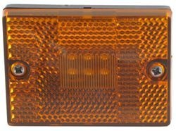 Square LED Trailer Clearance, Side Marker Light with Reflector, Stud Mount, 6 Diode - Amber