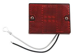 Square LED Trailer Clearance, Side Marker Light with Reflector, Stud Mount, 6 Diode - Red