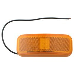 Rectangular LED Trailer Clearance, Side Marker Light with Reflector, 1 Wire, 6 Diode - Amber