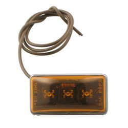 Sealed, Mini Rectangular LED Trailer Clearance, Side Marker Light, Stud Mount, 3 Diode - Amber