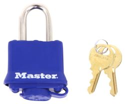 "Master Lock Laminated Steel Padlock - 1-15/16"" Wide - 5/16"" Diameter Shackle - Blue Cover"
