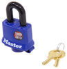 "Master Lock Laminated Steel Padlock- 1-15/16"" Wide - 3/8"" Shackle - Blue - Keyed Alike"