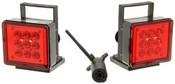 Pilot Magnetic Tow Lights - Red LEDs - 4-Way Flat and 7-Way RV Connector - Wireless