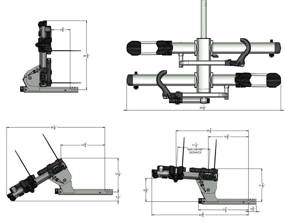kuat nv 2 0 2-bike platform rack - 2 u0026quot  hitches - aluminum - tilting
