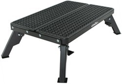 Adjustable-Height, Folding Plastic Platform Step with Grated Tread Surface - 500 lbs