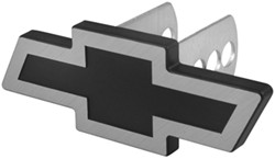 "Chevrolet Bowtie Trailer Hitch Receiver Cover - 1-1/4"" and 2"" Hitches - Brushed Aluminum"