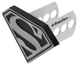 "Superman Trailer Hitch Receiver Cover - 1-1/4"" and 2"" Hitches - Brushed Aluminum"