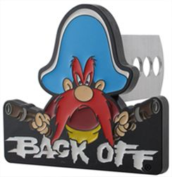 "Yosemite Sam ""Back Off"" Trailer Hitch Receiver Cover - 1-1/4"" and 2"" Hitches"