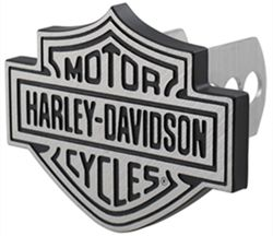 "Harley-Davidson Trailer Hitch Receiver Cover - 1-1/4"" and 2"" Hitches - Brushed Aluminum"
