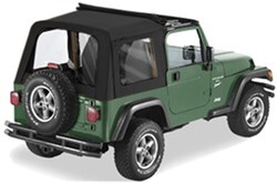 Pavement Ends Flip Top Soft Top for Jeep - w/ Sunroof and Clear Windows - Black Denim