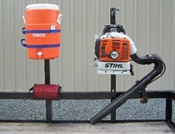 Pack'Em Rack for Open Utility Trailers - Holds 1 Backpack Blower, 1 Line Spool, 1 Round Cooler