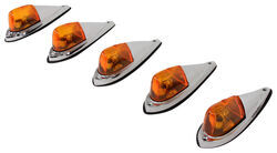 Pacer Performance Hi-Five Truck Cab Lights - Chrome Plated - 5 Piece - Amber Bulbs - Amber Lens