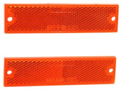 Rectangular Trailer Reflector, Adhesive and Screw Mount - Amber (Qty 2)