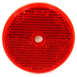 "Trailer Reflector, Round 2-3/16"" Diameter, Screw Mount - Red"