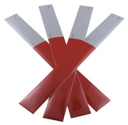 "7"" Long White/ 11"" Long Red Conspicuity Reflective Tape - (4) 18"" Strips"