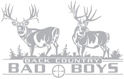 Big Rack Mule Deer Vehicle Decal - Back Country Bad Boys - Silver Metallic - Qty 1