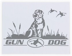 Big Rack Dog and Ducks Vehicle Decal - Gun Dog - Silver Metallic - Qty 1