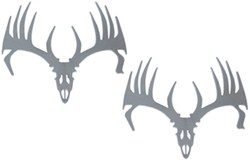 Big Rack Whitetail Skull Emblems - Chrome plated ABS plastic - Qty 2