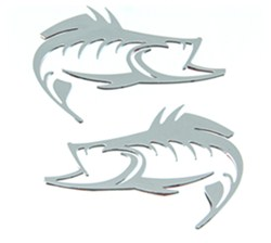 Striker Classic Fish Emblem Decals - Raised - Chrome Plated ABS Plastic - Qty 2