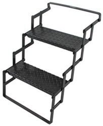 "Brophy Camper Scissor Steps - 2 Steps - Steel - Diamond Tread - 18"" Wide - 300 lbs"