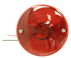 "Stop/Turn/Tail Trailer Light w License Light - Surface Mount - 3-7/8"" Round - Driver Side - Red"