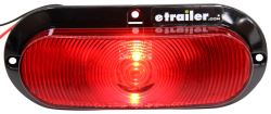 ONE LED Trailer Tail Light - Stop, Tail, Turn - Submersible - Oval - Red Lens - Black Flange