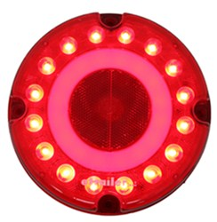 GloLight LED Trailer Tail Light - Stop, Tail, Turn - Submersible - 32 Diodes - Round - Red Lens