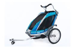 Thule Chinook Bike Trailer, Stroller, and Jogger with Accessories - 2 Child - Blue