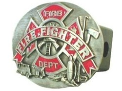 "Firefighter Oval Trailer Hitch Cover for 2"" Trailer Hitches"
