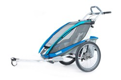 Thule CX Bike Trailer and Stroller - 1 Child - Aqua/Green/Periwinkle - 12 Months and Older