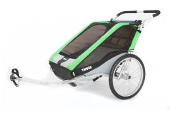Thule Cheetah Bike Trailer and Stroller - 2 Child - Green/Black/Silver - 12 Months and Older