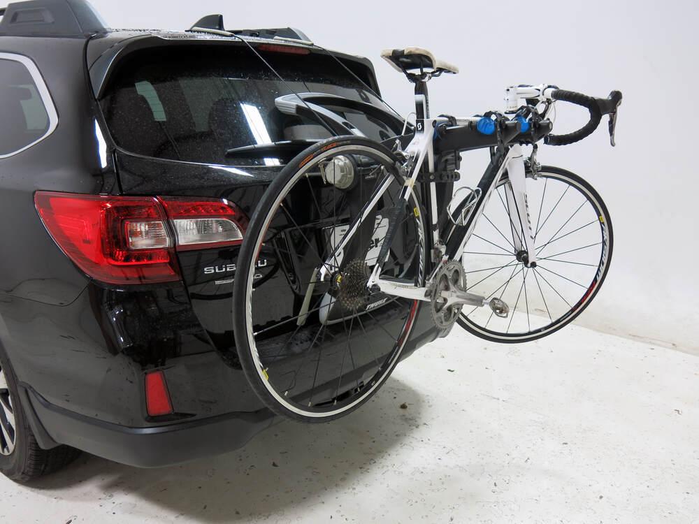 subaru outback wagon thule raceway pro  bike rack trunk mount adjustable arms