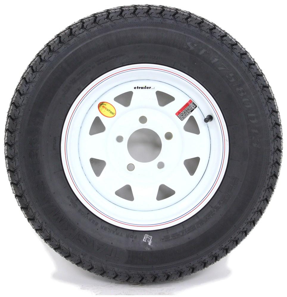 taskmaster std bias trailer tire   white spoke wheel     load range