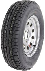 "Provider ST205/75R15 Radial Trailer Tire w 15"" Silver Mod Wheel - 5 on 4-1/2 - LR C"