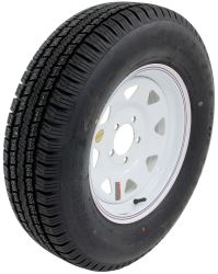 "Provider ST205/75R15 Radial Trailer Tire w 15"" White Spoke Wheel - 5 on 4-1/2 - LR C"