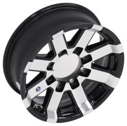 "Aluminum Hi-Spec Series 7 Trailer Wheel - 16"" x 6"" Rim - 8 on 6-1/2 - Black"