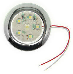 "LED Utility Light - 6 Diode - Sealed - 3"" Round - Clear w/ Chrome Snap-On Trim Ring"