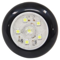 "LED Utility Light w/ Switch - 168 Lumens - 3"" Round - 6 Diodes - Clear Lens - Black Trim Ring"