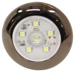 "LED Utility Light w/ Touch Switch - 3"" Round - 6 Diodes - Clear Lens - Brushed Nickel Trim Ring"